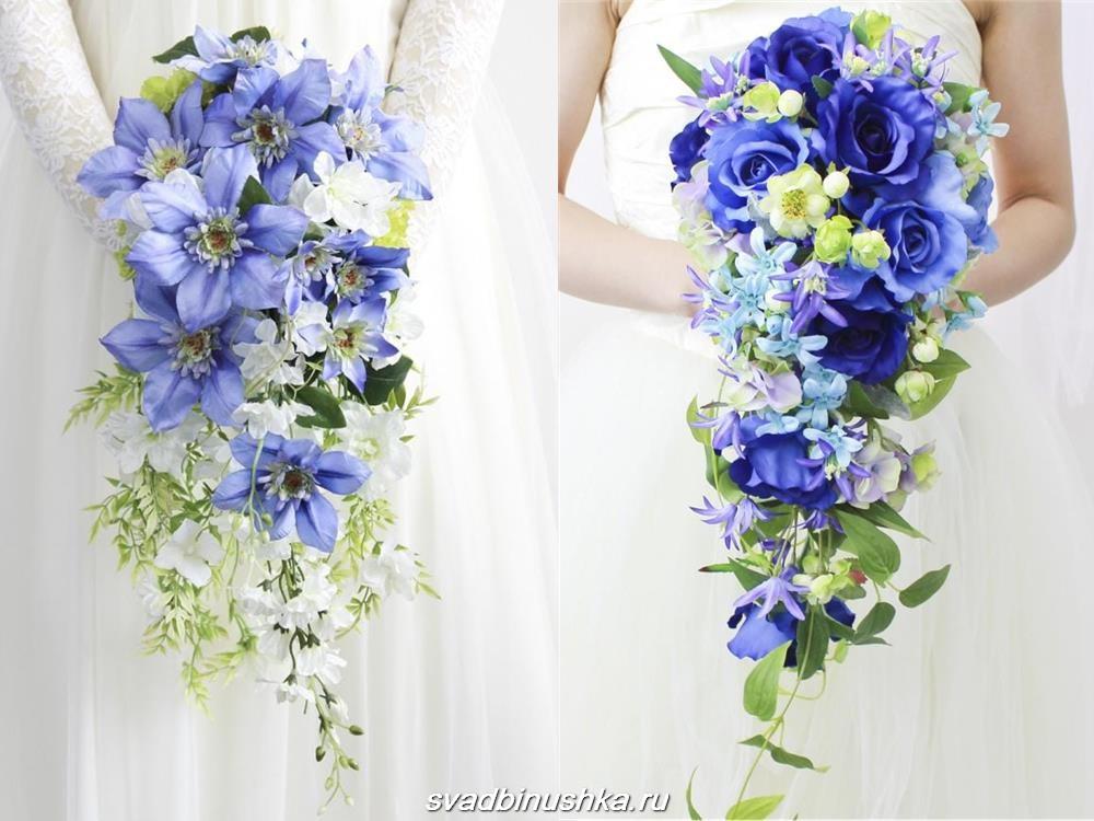 вьющийся синий свадебный букет